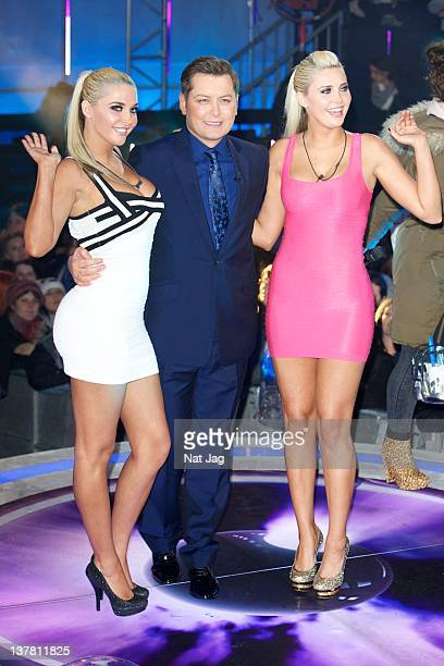 Finalists Kristina Shannon and Karissa Shannon with Host Brian Dowling gets evicted from Celebrity Big Brother 2012 at Elstree Studios on January 27...