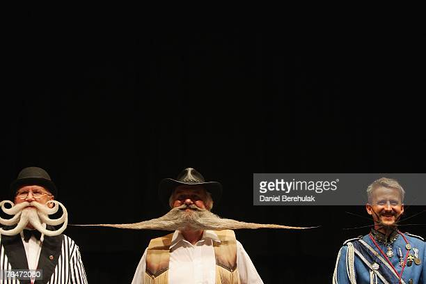 Finalists line up for the Partial Beards Freestyle category final during the World Beard and Moustache Championships at the Brighton Centre on...
