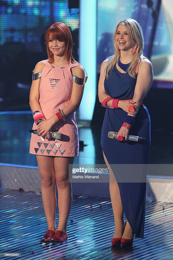 Finalists Lisa Wohlgemuth and Beatrice Egli at the 'Deutschland sucht den Superstar' Finals on May 11, 2013 in Cologne, Germany.