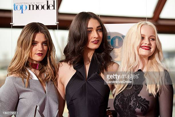 Finalists Montana Cox Liz Braithwaite and Simone Holtznagel at the Australia's Next Top Model Season 7 live finale at the Sydney Opera House on...