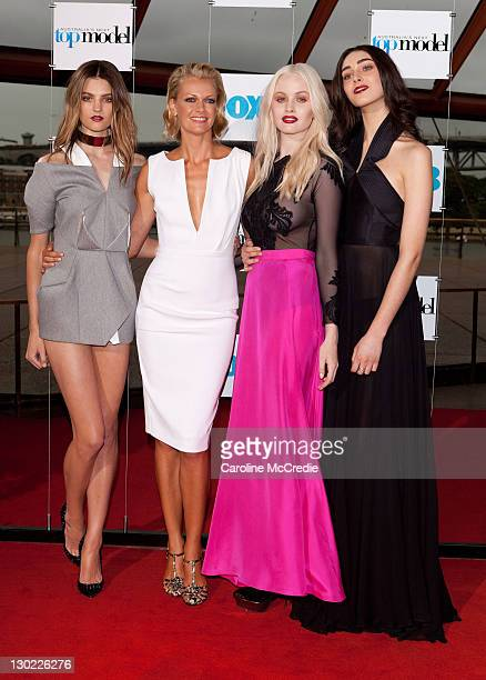 Finalists Montana Cox Liz Braithwaite and Simone Holtznagel with host Sarah Murdoch at the Australia's Next Top Model Season 7 live finale at the...