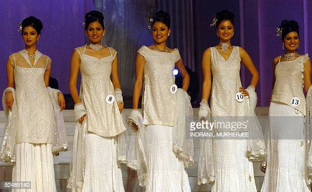Finalists of Pond's Femina Miss India 2005 walks down the stage in a preliminary round at the beauty paegant in Bombay 27 March 2005The winners of...