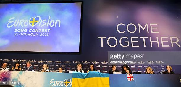 Finalists of the 2016 Eurovision Song Contest attend a press conference in Stockholm Sweden on May 12 2016