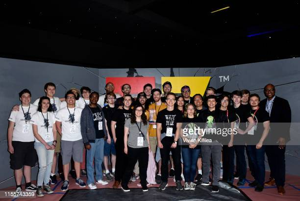 Finalists of the E3 College Game Competition pose with Stanley PierreLouis during E3 2019 at the Los Angeles Convention center on June 13 2019 in Los...
