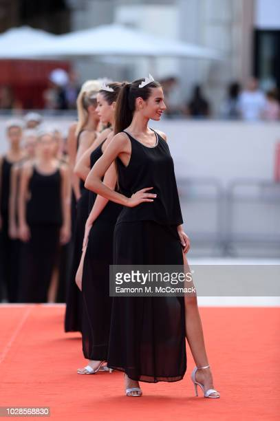 Finalists of the Miss Italia 2018 contest pose on the red carpet ahead of the Killing screening during the 75th Venice Film Festival at Sala Grande...