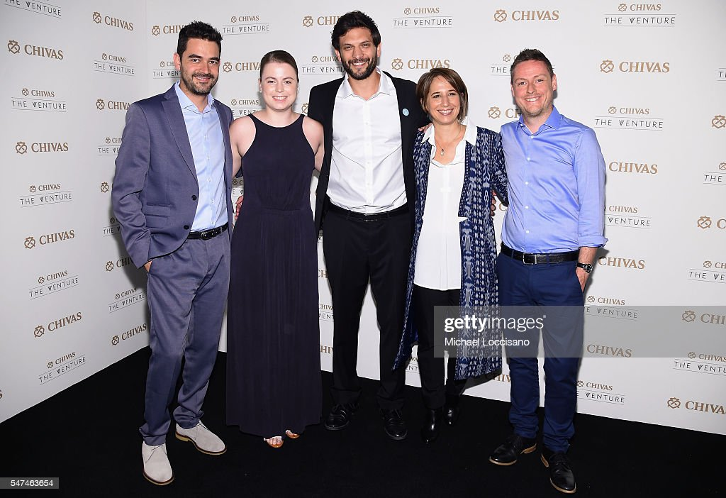 Finalists, Oscar Andres Mendez, Julia Romer, Or Retzkin, Maria Pacheco and Kenny Ewan attend Chivas' The Venture Final Event on July 14, 2016 in New York City.