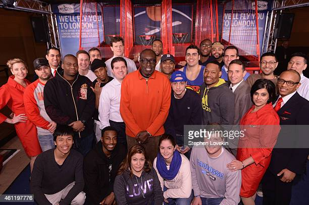 """Finalists pose with Knicks Legend Earl Monroe as Delta Air Lines hosts the """"Free Throw To Heathrow"""" event celebrating the New York Knicks return to..."""