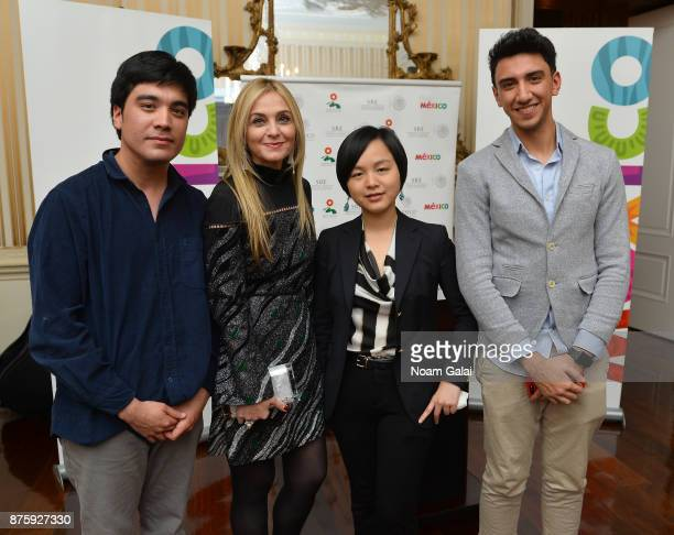 Finalists Roberto Pino Almeyda Ewing Luo Eisa Alhabib pose for a photo with Michal Grayevsky Predisent of JCS International during International Emmy...