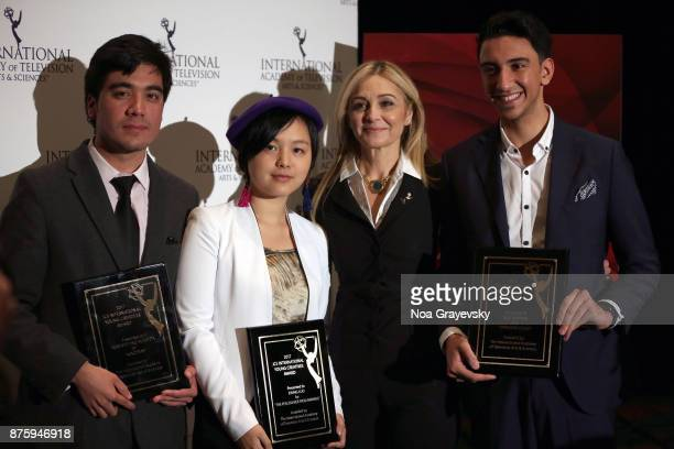 Finalists Roberto Pino Almeyda Ewing Luo Eisa Alhabib pose for a photo with Michal Grayevsky President of JCS International during the Nominee Medal...