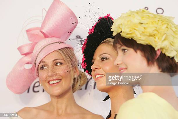 Finalists Tanya Lazarou winner Kristy Newman and Stephanie Menere pose during the Myer Fashion on the Field event on Ladies Day as part of the 2009...
