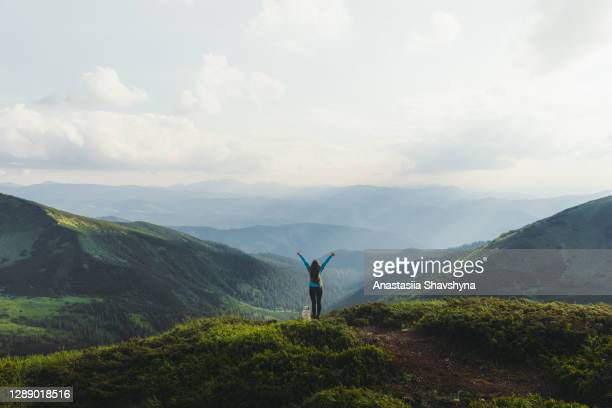 finally she made it to the top! - ukraine landscape stock pictures, royalty-free photos & images