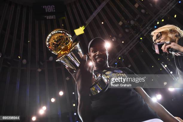 Finals MVP Kevin Durant of the Golden State Warriors after winning the NBA Championship in Game Five against the Cleveland Cavaliers of the 2017 NBA...