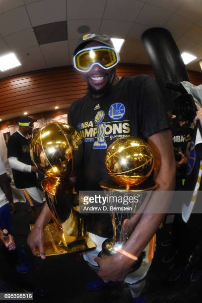 Finals MVP Kevin Durant of the Golden State Warriors celebrates in the locker room after winning the NBA Championship in Game Five of the 2017 NBA...