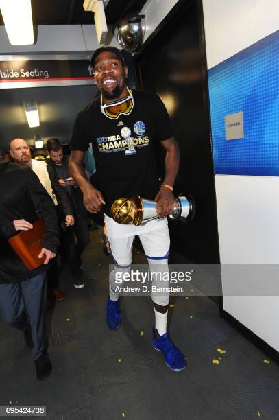 Finals MVP Kevin Durant of the Golden State Warriors is seen after winning the NBA Championship in Game Five of the 2017 NBA Finals on June 12 2017...