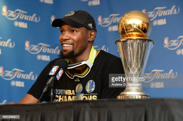 Finals MVP Kevin Durant of the Golden State Warriors speaks to the media after winning the NBA Championship in Game Five of the 2017 NBA Finals...
