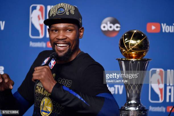 OH Finals MVP Kevin Durant of the Golden State Warriors speaks to the media after defeating the Cleveland Cavaliers in Game Four of the 2018 NBA...