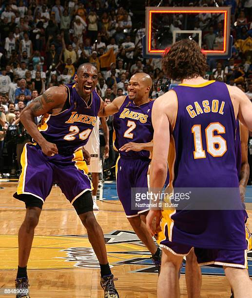 Finals MVP kobe Bryant Derek Fisher and Pau Gasol of the Los Angeles Lakers celebrate after they won 9986 to win the NBA Championship against the...