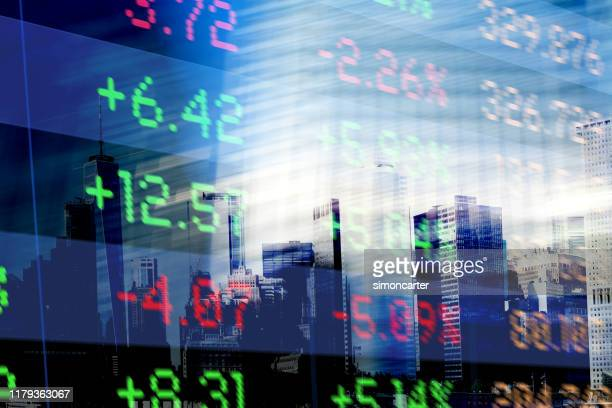 finance. abstract office buildings and trading screen data - computer monitor stock pictures, royalty-free photos & images