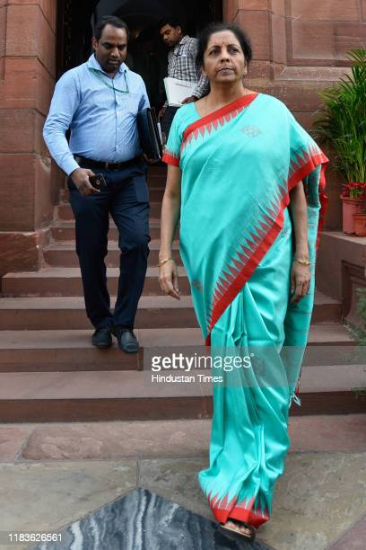 Finance and Corporate Affairs Minister Nirmala Sitharaman arrives during the winter session of Parliament on November 20 2019 in New Delhi India The...
