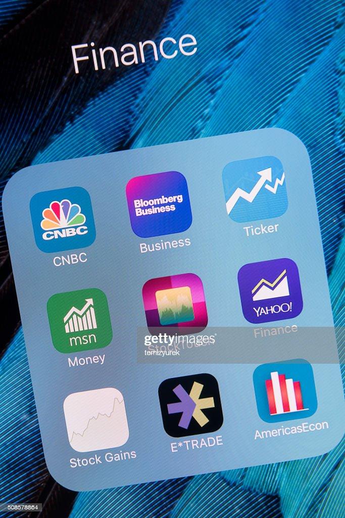 Finanzen-apps auf dem Apple iPhone 6 Jahren und Leinwand : Stock-Foto