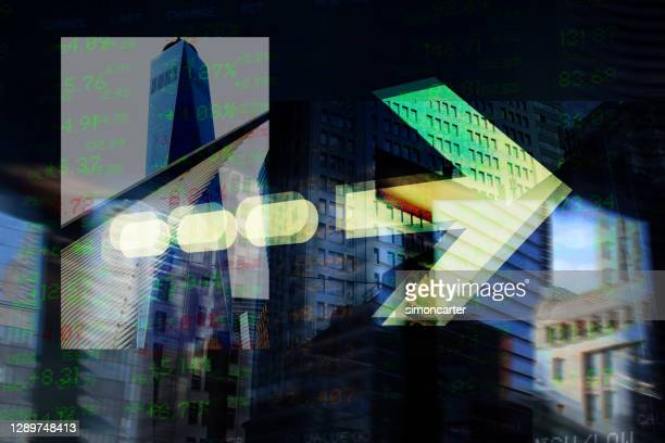 finance. arrow. new york office buildings and trading screen data. - manhattan new york city stock pictures, royalty-free photos & images