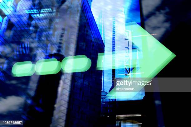 finance. arrow. new york office buildings and trading screen data. - the way forward stock pictures, royalty-free photos & images