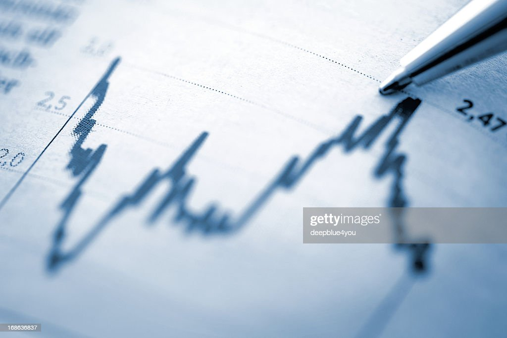 Finance chart with high peak on document : Stock Photo