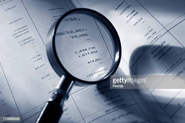 Finance: Magnifying Glass on Financial Report