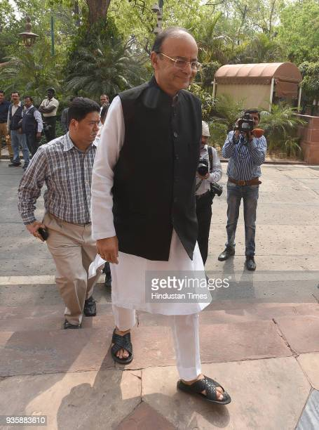 Finance Minister and Minister of Corporate Affairs Arun Jaitley during the Budget Session of Parliament on March 21 2018 in New Delhi India