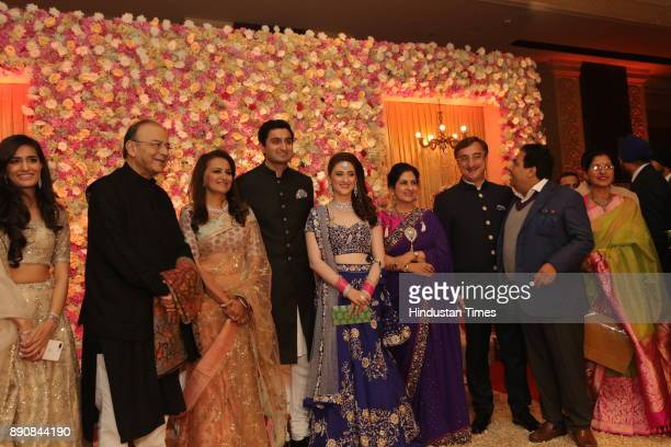 Finance Minister Arun Jaitely along with other leaders during wedding reception of Congress leader Vivek Tankha's daughter Vasundhara and soninlaw...