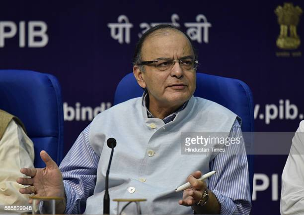 Finance Minister Arun Jaitley addresses a press conference a day after Goods and Services Tax bill passed in the Parliament on August 4 2016 in New...