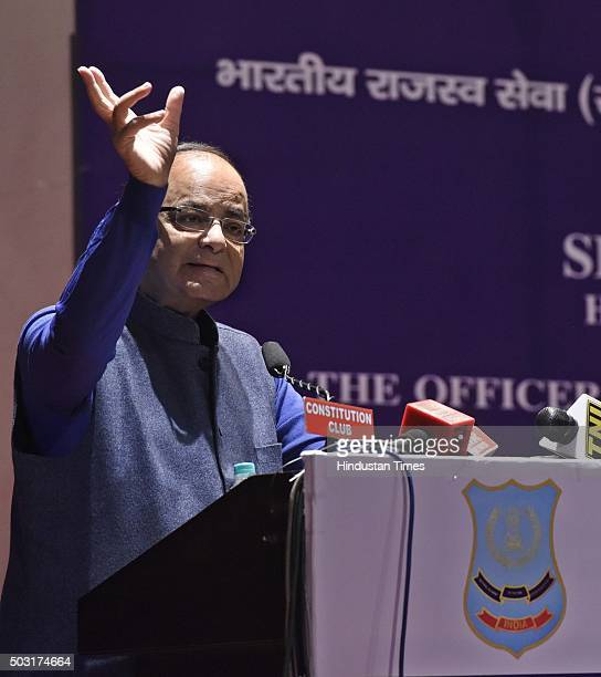 Finance Minister Arun Jaitley addresses the young Officer Trainees of the 67th Batch of the Indian Revenue Service to maintain absolute standards of...