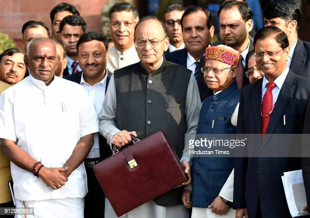 Finance Minister Arun Jaitley along with full Budget team leaving from Finance Ministry for Rashtrapati Bhawan to present the Budget 201819 in...