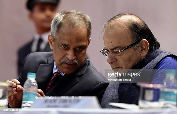 Finance Minister Arun Jaitley and Najib Shah , Chairman of CBEC, during the interaction with the young Officer Trainees of the 67th Batch of the...