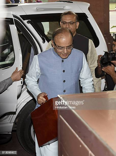 Finance Minister Arun Jaitley arrives at Parliament to present General Budget during the Budget Session on February 29 2016 in New Delhi India...