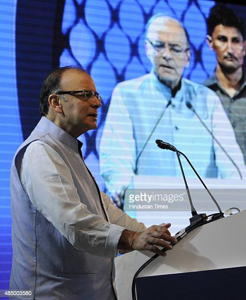 Finance Minister Arun Jaitley during an inauguration function of India's newest Bandhan Bank on August 23 2015 in Kolkata India Bandhan Bank began...