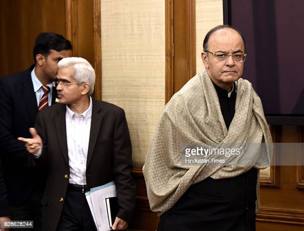 Finance Minister Arun Jaitley during his press conference on December 8 2016 in New Delhi India A month after Rs 500 and Rs 1000 notes were...