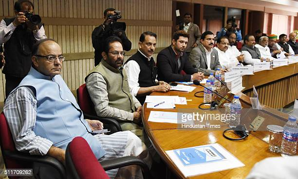 Finance Minister Arun Jaitley MOS Parliamenary Affairs Mukhtar Abbas Naqvi and other paties leaders at all party meeting called by Parliamentary...