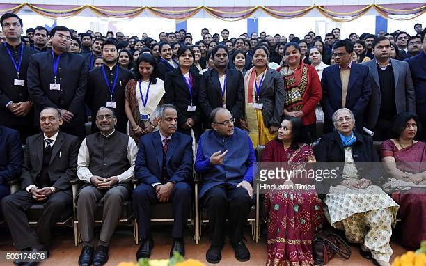 Finance Minister Arun Jaitley poses for group photo with the young Officer Trainees of the 67th Batch of the Indian Revenue Service to maintain...