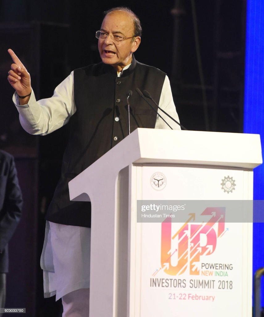 Finance Minister Arun Jaitly speaks on the final day of the Uttar Pradesh Investors Summit-2018 at the Indira Gandhi Pratishthan on February 21, 2018 in Lucknow, India.