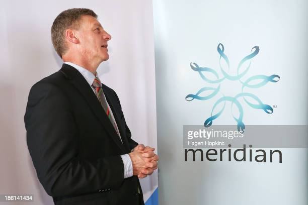 Finance minister Bill English checks the opening share price during the listing of Meridian Energy at NZX on October 29, 2013 in Wellington, New...