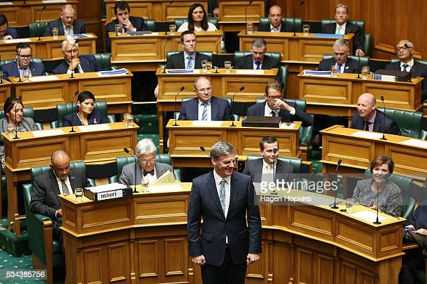 Finance Minister Bill English looks on during the 2016 budget presentation at Parliament on May 26 2016 in Wellington New Zealand English delivered...
