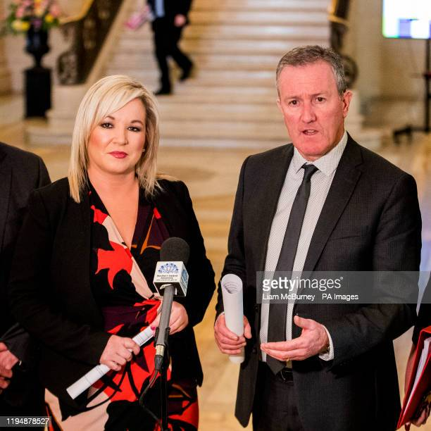 Finance Minister Conor Murphy of Sinn Fein with Deputy First Minister Michelle O'Neill in the Great Hall at Stormont Buildings.