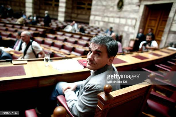 Finance minister Euclid Tsakalotos at Parliament takes part at the joint session of the four committees of the Parliament to discuss the text which...