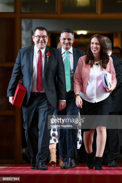 Finance Minister Grant Robertson and Prime Minister Jacinda Ardern make their way to the House for the 2018 budget presentation at Parliament on May...