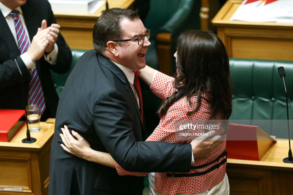 Finance Minister Grant Robertson is embraced by Prime Minister Jacinda Ardern after his 2018 budget presentation at Parliament on May 17, 2018 in Wellington, New Zealand. Grant Robertson delivered his first budget which sees a large investment in the health sector including cheaper doctor visits and investment in hospitals along with $1.6b dollars of new funding for the education sector over the next four years.