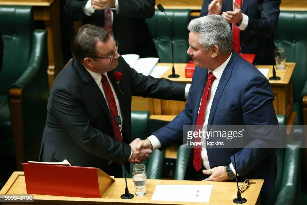 Finance Minister Grant Robertson shakes hands with Kelvin Davis after his 2018 budget presentation at Parliament on May 17 2018 in Wellington New...