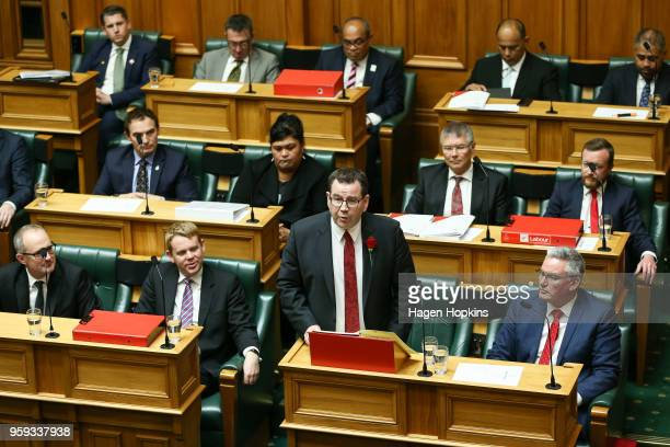 Finance Minister Grant Robertson speaks during the 2018 budget presentation at Parliament on May 17 2018 in Wellington New Zealand Grant Robertson...