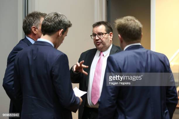 Finance Minister Grant Robertson speaks to guests during an ANZ lunch event at Shed 6 on May 18 2018 in Wellington New Zealand Grant Robertson...