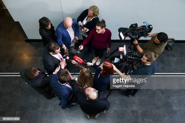 Finance Minister Grant Robertson speaks to media after an ANZ lunch event at Shed 6 on May 18 2018 in Wellington New Zealand Grant Robertson...